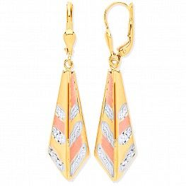 9ct White & Yellow Gold Drop Earrings